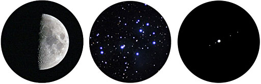 Moon, Pleiades, Jupiter